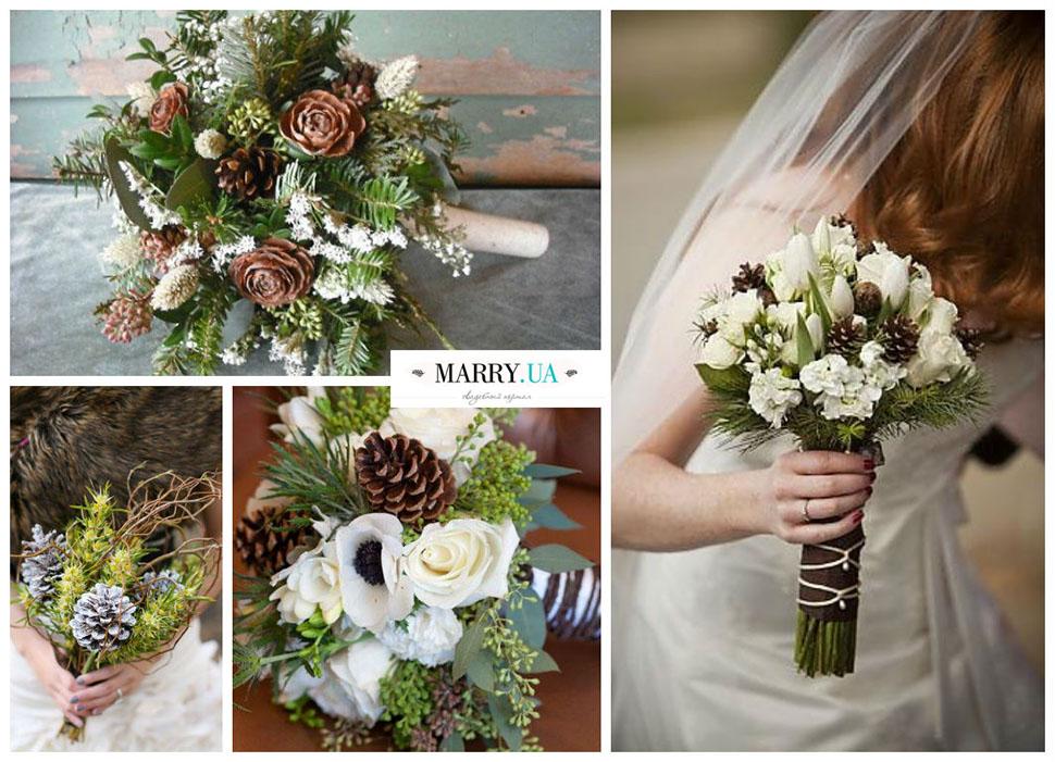 Зимний свадебный букет невесты с шишками, заказ ростове дону