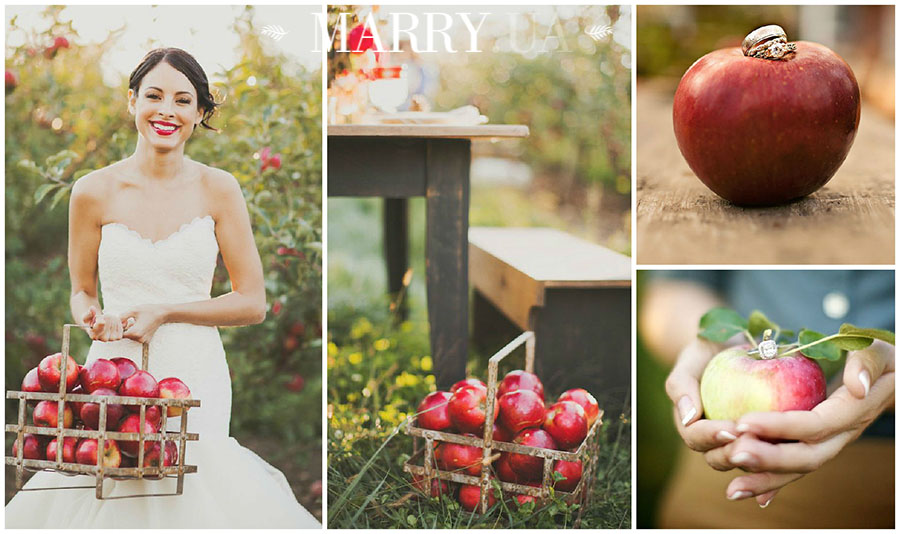 apple wedding photo ideas
