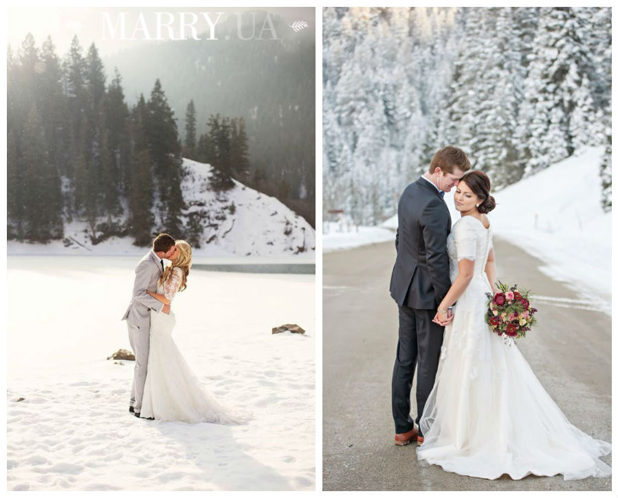 Winter wedding photo shooting light