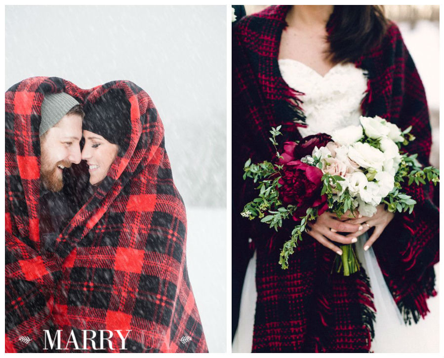 Winter wedding photo shooting plaid and blanket (1)