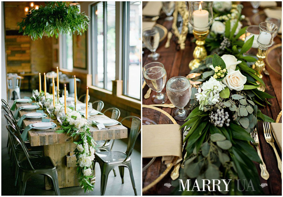 21 - greenery runners on wedding guest tables photo