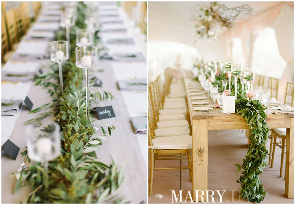 22 - greenery runners on wedding guest tables photo
