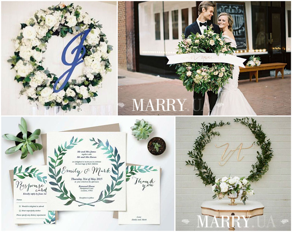 27 - greenery wreath wedding photo