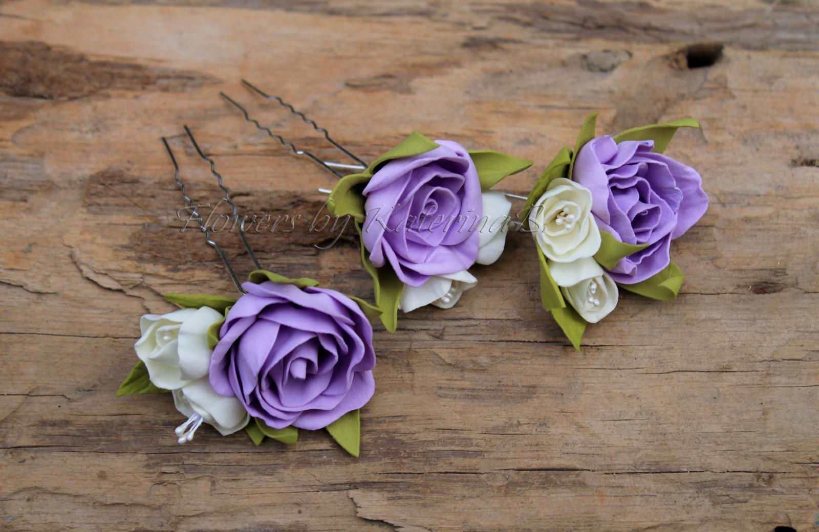 Шпильки с цветами из фоамирана