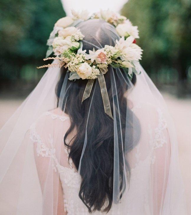 свадебные прически с венком и фатой фото
